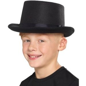 Child's size black top hat for Halloween costume